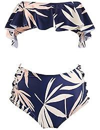 f45aa621a9 MSNDIAN Europa y los Estados Unidos Tubo de Hoja de Loto Top Print Sexy  Cubierta Vientre Bikini Traje de baño…