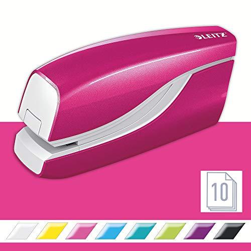 Leitz 55661023 Elektrisches Heftgerät (10 Blatt, Metall mit Kunststoffelementen, Inkl. Heftklammern, Wow) pink metallic