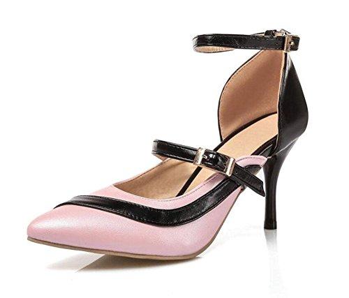 GLTER Frauen Spitz-Zehen-T-Strap Knöchelriemen Pumps High-Heel Sandalen Weiß Rosa Blau Lila Pink