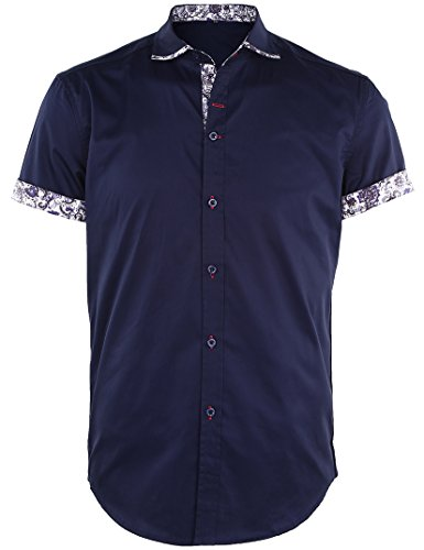 JEETOO Homme Chemise à Manches Courtes Slim Fit Casual Floral (X-Large, Marine)