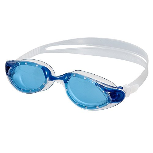 LANE4 Swim Goggle One-Piece Frame, Anti-Fog UV Protection, Easy Adjusting Quick Fit Lightweight Comfortable No Leaking, Triathlon Open Water for Adults Women Ladies #33220 (Blue) -
