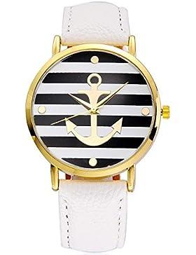 Souarts Damen Weiß Streifen Armbanduhr Armreif Uhr mit Batterie Zifferblatt