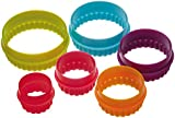 Colourworks Plastic Plain and Fluted Round Cookie Cutters, Multi-Colour, Set of Six