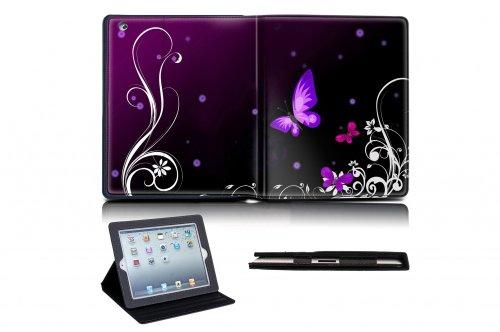 MySleeveDesign iPad Leder Case Hülle Tasche für iPad 2 / iPad 3 / iPad 4 - VERSCH. DESIGNS - Butterfly Light