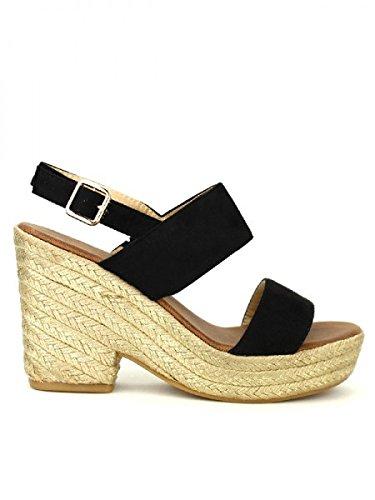 Cendriyon, Compensée Espadrille Noire QUEEN'S Chaussures Femme Noir