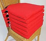 Rattani Set 6 x Stuhlkissen/Sitzkissen Marina halbrund mit Schleife 42 x 45 cm Dicke 5 cm, Fb. rot, Polyester