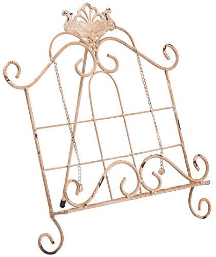 Biscottini Leggio da appoggio in ferro battuto finitura bianca anticata L35,5xPR28xH35,5 cm