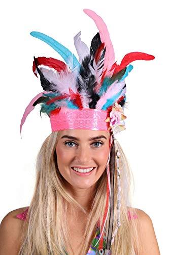 Indianer-Stirnband Damen Deluxe mit Federn Luxus Deluxe Hochwertiges Kostüm-Zubehör Party-Accessoire Karneval Fasching Fastnacht Mottopartys Einheitsgröße Multi (Deutsche Klammern Kostüm)