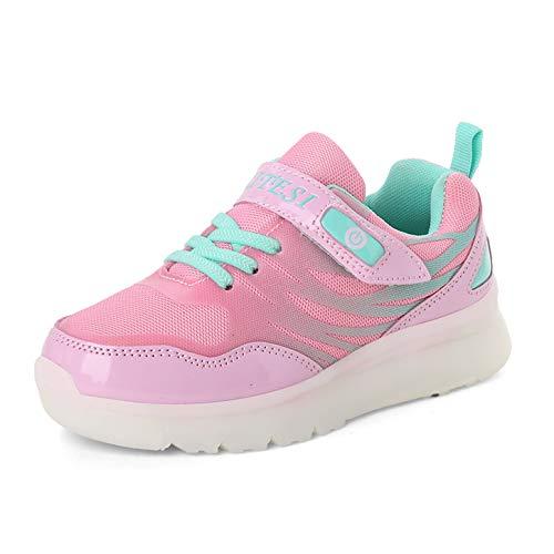 Kinderschuhe mit LED USB Aufladen Licht Sportschuhe Sneakers Laufschuhe Turnschuhe Trainers Blinkschuhe LED Schuhe für Mädchen Jungen Rosa 33