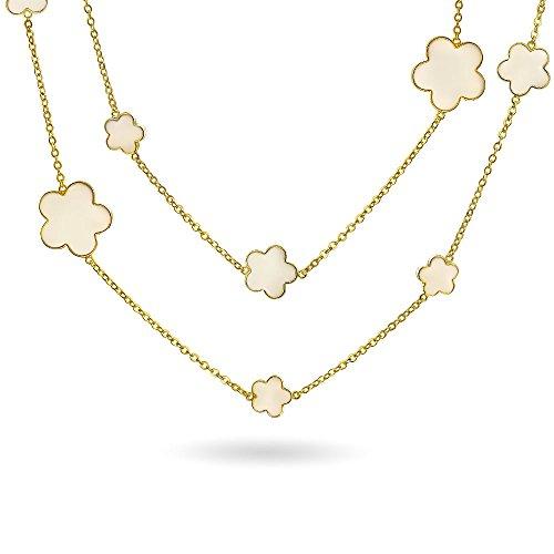 Weiß Creme Klee Blume Lange 14K Vergoldet Messing Station Tin Cup Kette Wrap Layer Lange Halskette Für Damen 42 Zoll - Cup-halskette Tin