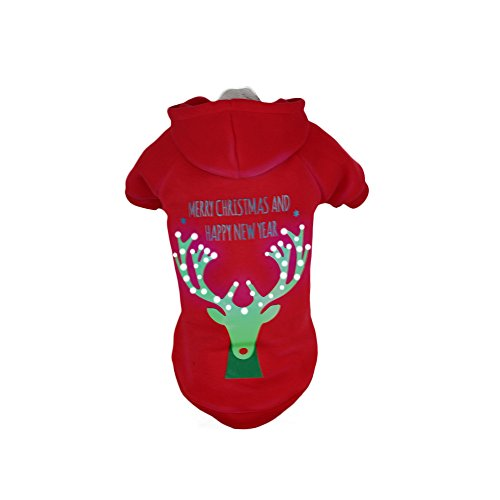Pet Life LED Beleuchtung Weihnachten Rentier Hooded Sweater -