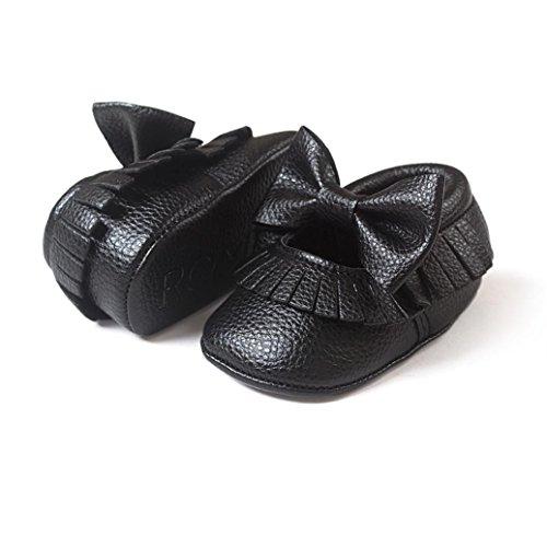 Jamicy® Baby Mädchen Bowknot Quasten Schuhe süße weiche Sohle Leater Freizeitschuh Schwarz