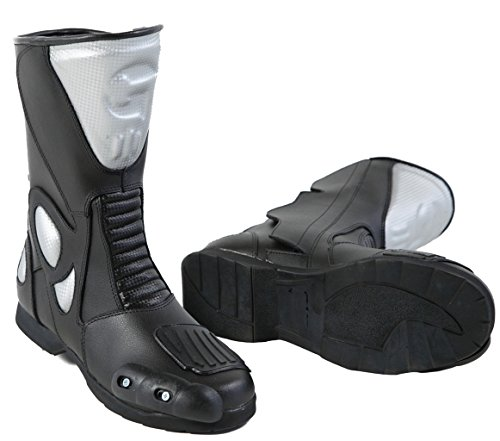 Lemoko Leder Motorradstiefel mit Kunststoffverstärkungen schwarz silber, Gr. 45