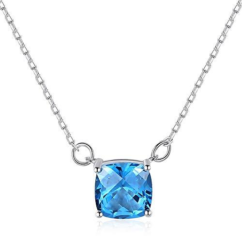 VLHVAQ DFRXK-JE Frauen Halskette Damen Halskette Square Anhänger Halskette 925 Sterling Silber Schlange Knochen Kette (mit Kette) Das nächste Geschenk an das Herz -