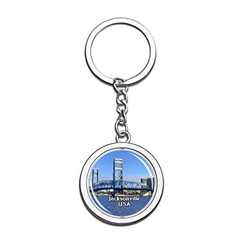 USA Vereinigte Staaten Schlüsselbund Jacksonville Schlüsselbund 3D Kristall Drehen Rostfreier Stahl Schlüsselbund Touristische Stadt Andenken Schlüsselanhänger