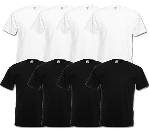 Fruit of the Loom 8 T Shirts Valueweight T Rundhals M L XL XXL 3XL 4XL 5XL Übergröße Diverse Farbsets (5XL, 4Weiß/4Schwarz)