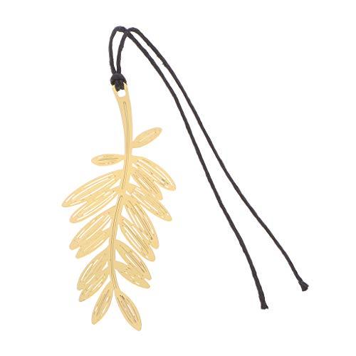Senoow Kreatives niedliches Metall-Lesezeichen mit Aussparung aus Papier für Büro und Schule, Metall, 04#palm leaf, 12cm/4.72inch - Gold Leaf 12 Licht