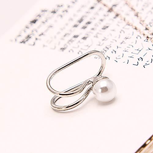 Lukame✯ Kreative Mode Einfache Rautenförmige Perforierte Ohrringe Mit Rautenfreiem Perforiertem Ohrclip (Silber Perle)