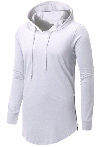 AIYINO Herren Kurzarm/Langarm Hoodie T-Shirt 100% Baumwolle Kapuzenshirt 03 Langarm-Weiß