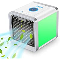 KEYS Air Cooler, Personal Space Air Cooler,3-in-1 Portable Mini Air Conditioner, USB Arctic Air Cooler with 7 Colors LED & 3 Speeds for Bedroom, Office.