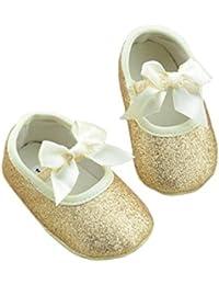 Koly Zapatos primeros pasos para bebé-niñas, pasos niñas, Anti-slip zapatos de bebé de brillo (M, Oro)