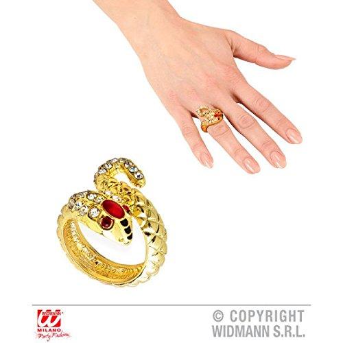 Widmann 03572-Ring Goldene Schlange mit Schmucksteinen, Zubehör Kostüm, (Nefertari Kostüme)