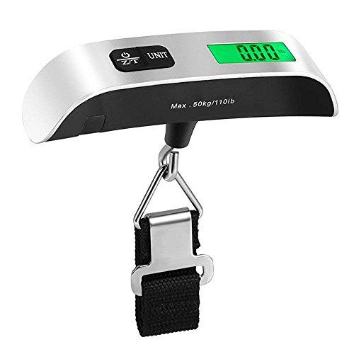 Bkinsety bilancia digitale pesa valigie 50kg/110lb portatile bagaglio pesa con lcd verde retroilluminato,funzione zero e tare