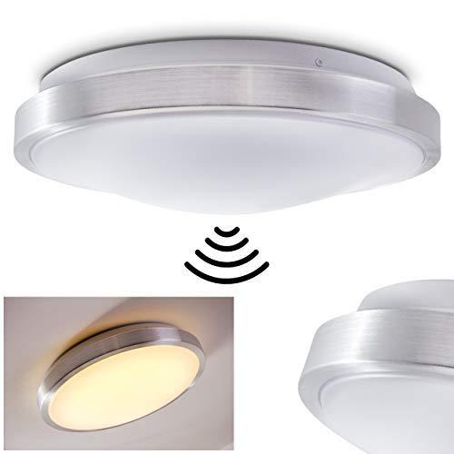 LED Deckenleuchte Wutach mit Bewegungsmelder, runde Deckenlampe aus Metall in Alu gebürstet, 1 x 18 Watt, 1380 Lumen, Lichtfarbe 3000 Kelvin (warmweiß), IP 44, auch für das Badezimmer geeignet
