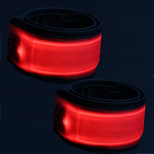LED Armband joggen - Sportleuchte - Sicherheit beim Jogging Laufen Fahrrad - Helles Licht - Leuchtarmband Blinklicht - 2 Stück rot