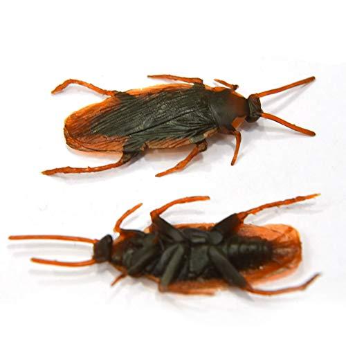 Newin Star 10 Stück Gefälschte Kakerlake Neuheit Kakerlaken Bugs Realistische Blick Insekten für Halloween Fools'Day Trick Party Spiel Spielzeug