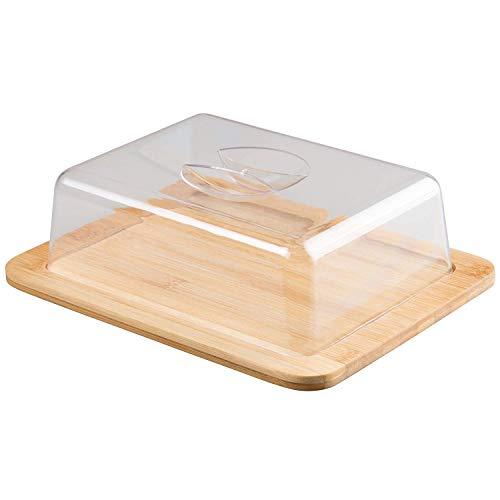 Jonas Quesera Rectangular con Tapa Plexiglass - Caja Queso Madera de Bambú - Ideal para Conservar Frescos tus Quesos -Dimensiones 26 X 20 X 7,3 cm - Garantía de Calidad