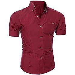 Camisa Casual de Manga Corta con Estilo Slim Fit Elegante de Lujo para Hombres