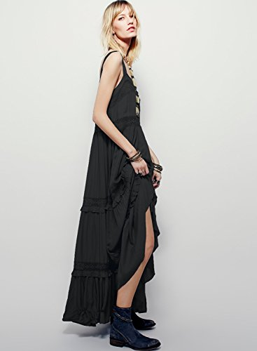 Azbro Women's Strappy Sleeveless Backless Maxi Solid Dress Black