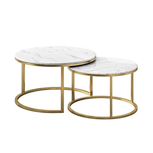 2 runde Tee Tisch Couchtisch Schreibtisch Sets Stapeltische Runde Nesting Beistelltisch Metall Gold Basis für Wohnzimmer Couch Schreibtisch, 60cmx40cm / 80cmx45cm -