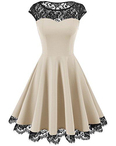 HomRain Damen 1950er Elegant Spitzenkleid Rundhals Knielang festlich Cocktail Abendkleid Champagne L