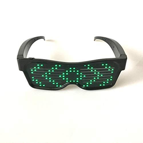 chaoxiner Smart Bluetooth LED Brille Mode Blinkende Sonnenbrille Handy APP Verbindung Drahtlose Dynamische Muster Brillen für Nachtclub Party Geburtstag Dekoration
