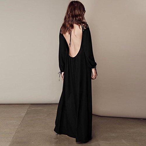 Manadlian-Robes Longue,Robe de Soirée Longue Femmes Évider Dos Nu Robe Lâche Manches Longues Robe de Soirée Noir