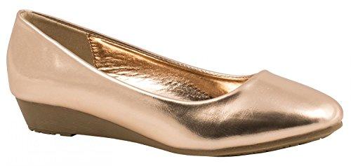 Elara Classique Confortable Femmes Ballerines simili cuir talon compense COMPENSES or rose
