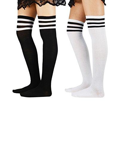 Zando Donna atleta Righe Sottili Solid coscia alti calzini sopra al ginocchio calze 2 Pairs 1 Taglia unica