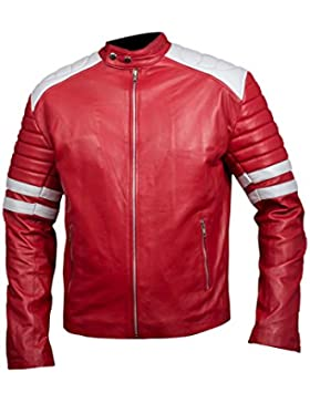 Leatherly Chaqueta de hombre Fight Club Mayhem Cuero Chaqueta Rojo & Blanco
