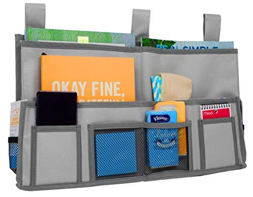 Preokupied borsa portaoggetti da appendere al bordo letto per riporre oggetti con 11 tasche, tessuto grigio in poliestere 600d e astuccio in omaggio