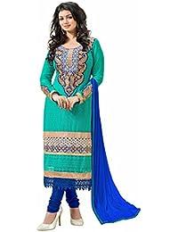 Jheenu Women's Rama karachi work Faux Georgette Unstitched Embroidered Dress Material