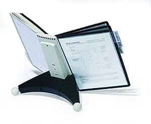 Durable 563222 Sherpa Table Pupitre de Table 10 Pochettes pour Consultation et Présentation Documents A4 5 Gris/5 Noir