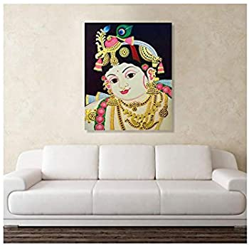Printelligent Canvas Painting Krishna Tanjore Canvas Painting Wall