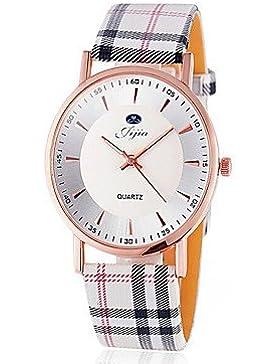 Fenkoo Damen Modeuhr Quartz Chronograph PU Band Armbanduhr Mehrfarbig