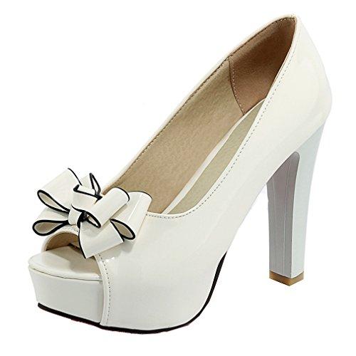 YE Damen Lackleder Blockabsatz High Heels Peep Toe Plateau Pumps mit Schleife Roter Sohle 12cm Absatz Schuhe
