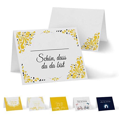 Partycards 50 Tischkarten/Platzkarten DIN A7 für Hochzeit, Geburtstag, Kommunion, Taufe (DIN A7, Drops Gelb)
