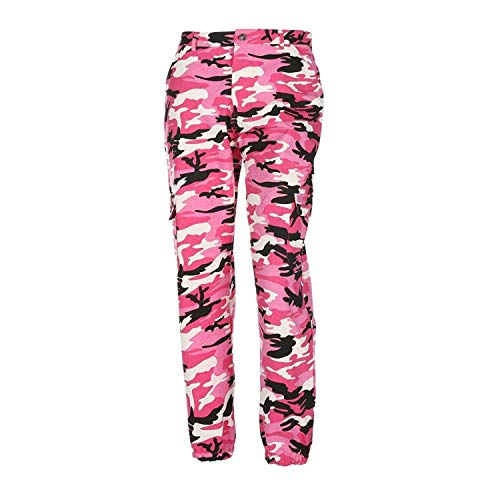 ORANDESIGNE Frauen Sport Camo Cargo Hosen 2018 Neue Jugend Outdoor Casual Camouflage Hosen Jeans Rosa EU Small - Camo Frauen Cargo-hosen