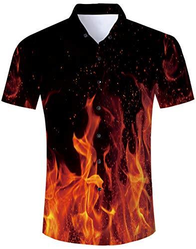 Sommer Herren Lustig Print Hawaiian Shirt und Shorts Sets Lässige Kurzarm-T-Shirts mit Strandhosen-Outfits Urlaub Kleidung M - Lässige Short Set