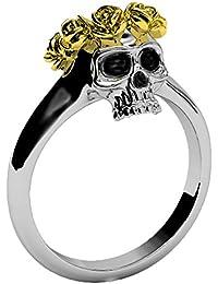 Anillo de calavera joyas princesa corona con imitación de diamante anillos de compromiso con Halo de oro rosa flor calavera promesa anillos